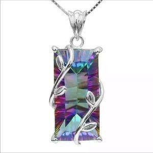 Mystic Topaz 925 Silver Necklace NWT
